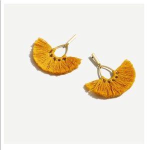 J Crew tassel fan earrings gold rich saffron color